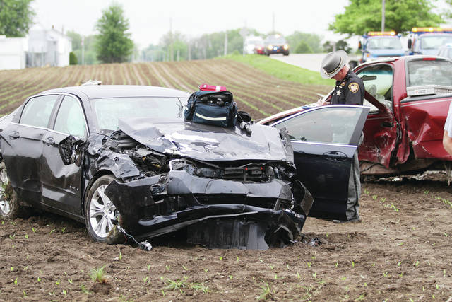 A pickup truck, driven by Levi Michael Hemmelgarn, 17, of New Weston, was struck by a car at the intersection of Miller Road and Redmond Road near Russia. The pickup truck, which had a stop sign, drove into the path of the car, driven by Joyce M. Luthman, 82, 447 Miller Road, Russia. Both drivers and Hemmelgarn's passenger, Logan Daniel Winner, 16, of New Weston, were transported to Wilson Health in Sidney. Hemmelgarn and Winner were ejected from the truck. Russia Fire Department was called when the truck caught fire. The crash occurred around 9:11 a.m. on Wednesday, May 16. Houston and Versailles Rescue also responded. The Shelby County Sheriff's Office is investigating the crash.
