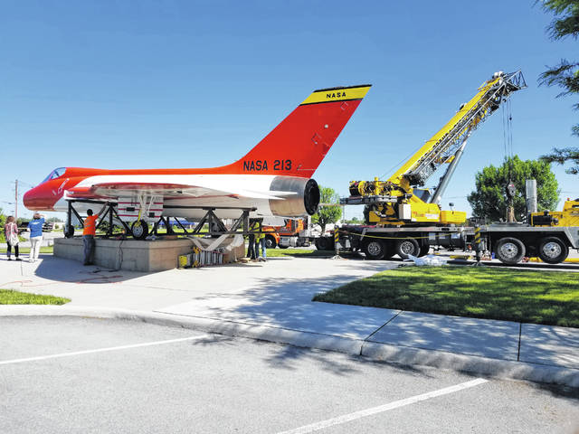 The Skylancer is back on its pedestal in front of the Neil Armstrong Air & Space Museum in Wapakoneta. The plane, which Armstrong flew, has been restored.