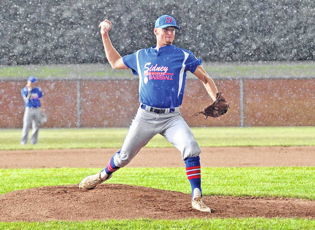 Josh Brown/AIM Media Sidney Post 217 starter Hunter Cohee delivers a pitch against Troy Post 43 Wednesday at Duke Park.