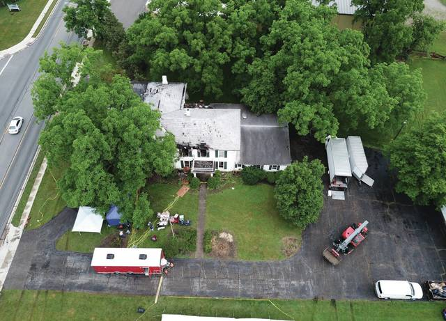 This is an aerial view of the Link house after training was completed Monday.