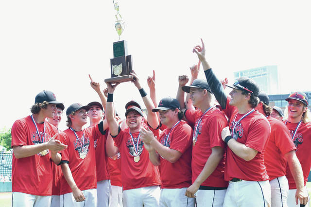 The Fort Loramie Redskins celebrate their win over Hicksville, Saturday, June 2, in Columbus.
