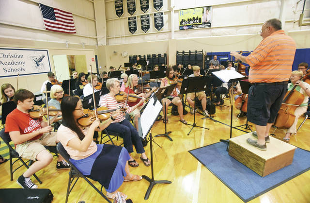 The Upper Valley Community Orchestra rehearses at Christian Academy Schools Tuesday, June 5.