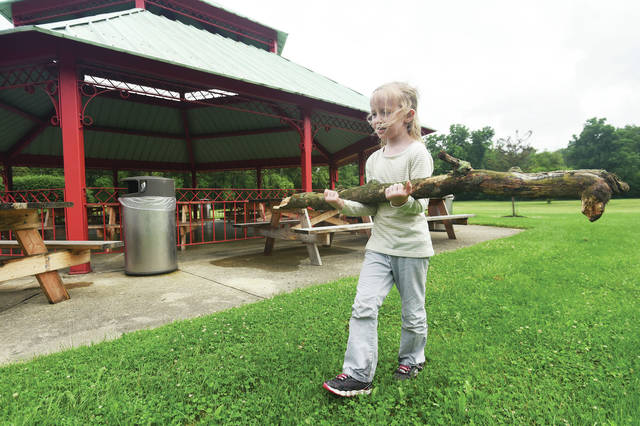 Adrianna Blair, 7, of Sidney, daughter of Sarah Gepfrey and Casey Webb, comes away with a tree limb after taking part in the City of Sidney Parks and Recreation Department Nature Scavenger Hunt at Tawawa Park Tuesday, June 12.