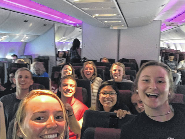 Jessica Witer, of Anna, left in back row, flies with fellow missionaries to Namibia, in May.