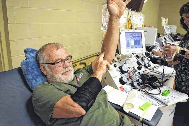Fort Loramie donor and blood drive co-coordinator Roger Bender.