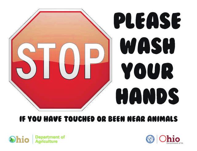 Signs like the one above will be posted on livestock barns at Ohio fairs this summer.