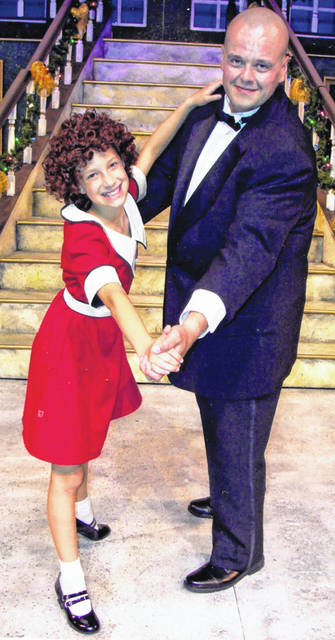 "Elyse Wilkinson as Annie and Nicholas C. Breiner as Daddy Warbucks share a dance in ""Annie"" at La Comedia Dinner Theatre in Springboro."