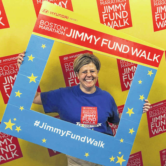 Christa Smith, of Sidney, campaigns for funds in support of the Jimmy Fund. She plans to participate in the Boston walk for the 11th time in September.