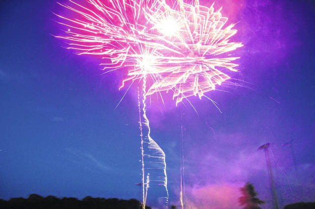 The skies over New Knoxville were filled by the glow of fireworks Saturday night.