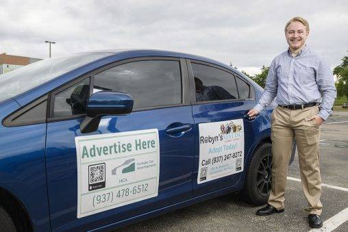 Jacob Hunkeler, who is majoring in management information systems, runs an advertising company out of his home using car magnets, bar codes and strategic driving to deliver commercial messages.