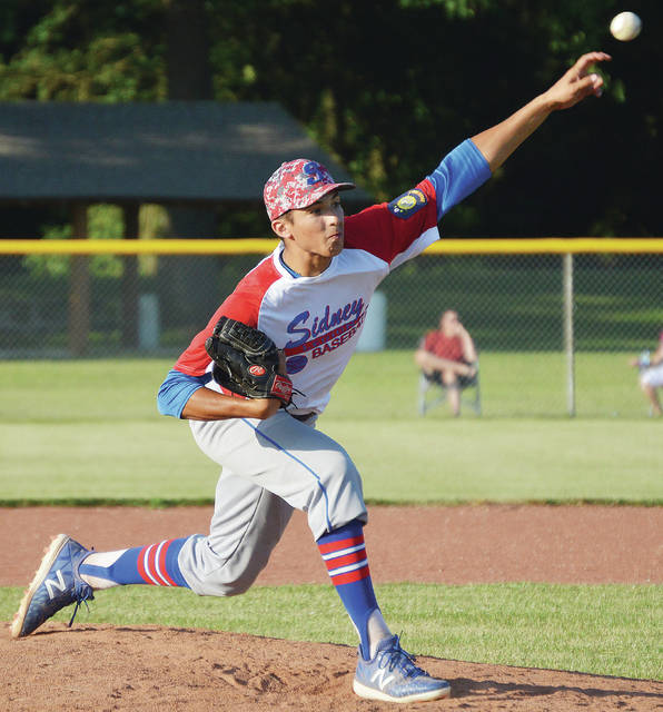 Sidney Post 217's Daniel Kearns pitches against Greenville Post 140 during an American Legion game on Thursday at Custenborder Field. Kearns allowed four hits in a complete game and struck out nine.