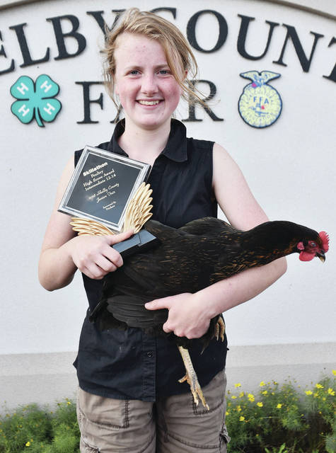 Ellie Pistone, 14, of Sidney, daughter of Ken and Kimberly Pistone, member of Houston Livestock and Dog Gone, won intermediate skillathon - chickens at the fair.