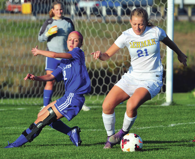 Grace Olding reverses direction during a tournament game against Franklin-Monroe on Oct. 19, 2017 in Sidney. Olding is one of two four-year starters returning for the Cavaliers.