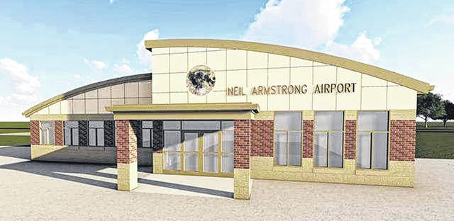 An artist's rendering illustrates what a renovated Armstrong Airport would look like.