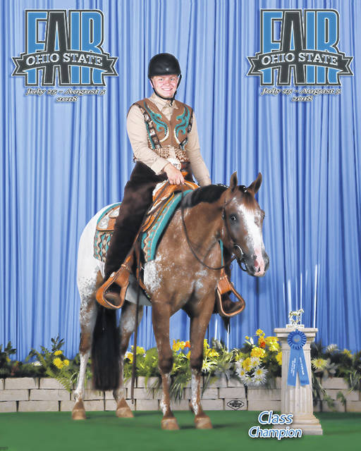 Caroline Frieders, 17, daughter of Kay and Jack Frieders, of Quincy, was class champion in Class 66 Western Pleasure, Pony for riders 9 to 18, seventh overall in the Championship Western Pleasure class and eighth in Class 52 Horsemanship, Western Horse/Pony for riders 16 and older at the 2018 Ohio State Fair. She is a member of Horse & Rider 4-H and rides The Biggest Rage.