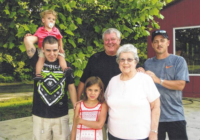 The family of Ann Coverstone, of Sidney, recently gathered to celebrate her 90th birthday. During the event, a five-generation photo was taken with her son, grandson, great-grandson and great-great-grandchildren. Shown are, left to right, great-grandson Ryan Coverstone, of Sidney, with his children and her great-great-grandchildren, Gavin and Mackenzie Coverstone, her son, Bob Coverstone, of Sidney, and her grandson, Chad Coverstone, of Sidney.