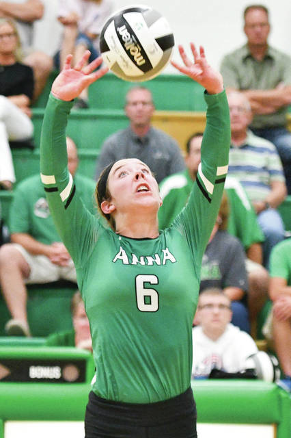 Anna senior Lexi Wells sets up for a teammate during a match against Jackson Center in Anna on August 31, 2017. Wells had 828 assists and 210 digs as a junior last season for the Rockets, which won the SCAL with a 10-2 record.