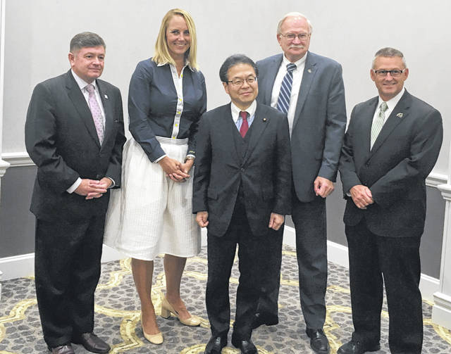 Following the private meeting with select government officials, Japanese Minister of Economy, Trade and Industry Hiroshige Seko met with select local officials to discuss privately their thoughts about the trade war. They include, left to right, Dublin City Manager Dana McDaniel, Findlay Mayor Lydia Mahilik, Minister Seko, Sidney Mayor Mike Barhorst, and Marysville City Manager Terry Emery.