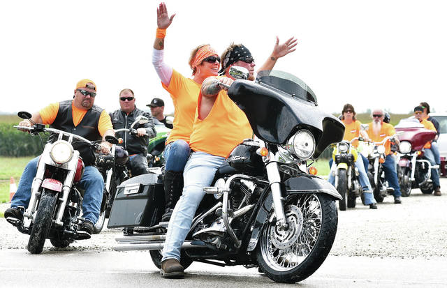 The Hope Thru Hospice Ride gets started as it leaves Sharp's on state Route 47 Saturday, Aug. 26. Motorcyclists gathered to raise money for Wilson Health Hospice. Rain didn't stop them from participting in the ride.