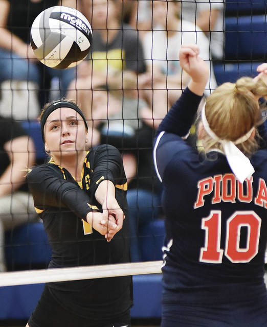 Sidney's Alina Kindle gets under the ball during a Greater Western Ohio Conference match on Tuesday at Piqua's Garbry Gymnasium. Kindle had seven kills and two aces.