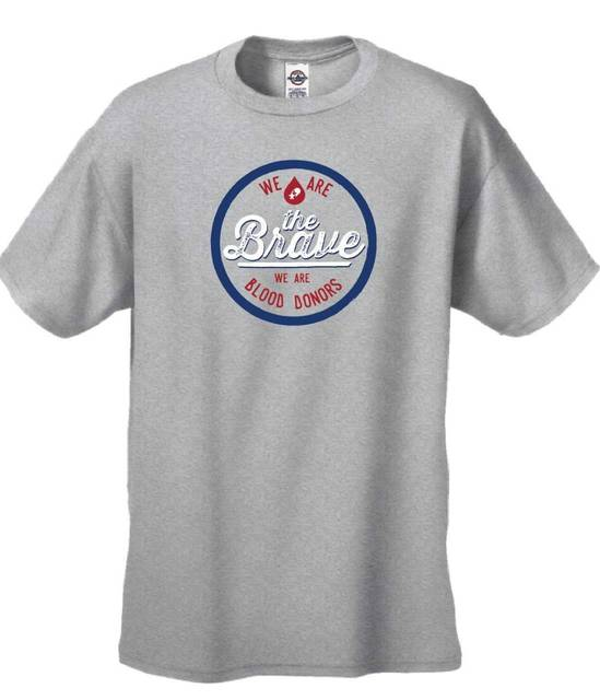 """CBC """"We Are the Brave – We Are Blood Donors"""" t-shirt."""