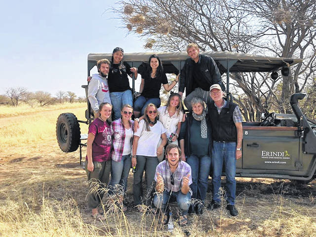 Jessica Witer, of Anna, third from left in back row, poses with fellow missionaries in Namibia. Witer spent 10 weeks in Africa with a group organized by Experience Mission of Fort Wayne, Ind.