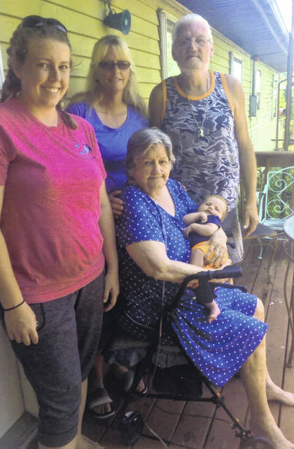 A five-generation family recently met for a photo. Pictured are, seated, great-great-grandmother Marjorie Davis, of Sidney, holding baby Jameson O'Brien, of Monroe, Michigan, and standing, from left, mother Heather O'Brien and grandmother Malissa O'Dell, both of Monroe, Michigan, and great-grandfather Horbin Brown, of Sidney.