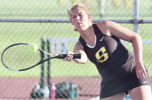 Sidney's Sara Gibson plays a No. 1 doubles match against Northmont on Wednesday in Sidney. Gibson's partner was Jenna Allen.