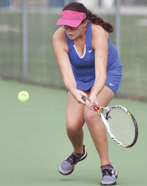 Lehman Catholic's Sarah Gibson plays in a No. 2 singles match against Lima Shawnee on Wednesday in Sidney.